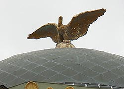 [photo, Eagle sculpture atop dome, Frederick A. Thayer III Courthouse, 203 South 4th St., Oakland, Maryland]